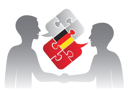 ドイツ語レッスン 2 人の学生をダイアログおよびドイツ語会話を象徴するドイツ国旗の付いたバブルの話のパズルします。ベクトル イラスト。