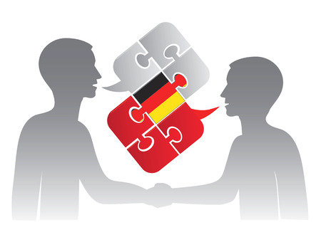 pronounce: German lessons dialog Two students and Puzzle bubble talk with a German flag symbolizing German conversation.Vector illustration.