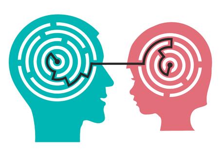 psicologia infantil: Silueta de cabeza masculina e infantil con laberinto simboliza los procesos psicológicos de la comprensión o psicólogo infantil. Ilustración del vector.