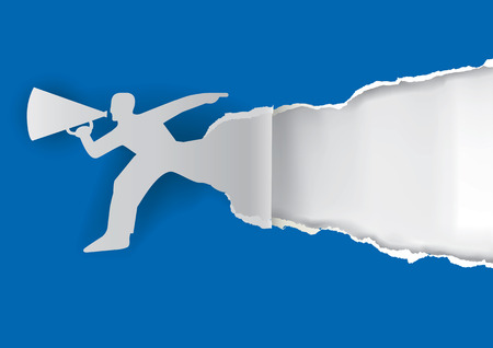 Man advertises or sells shouts in a megaphone on the blue paper background with place for your text or image.  Template  for a original advertisement. Vector illustration. Vettoriali