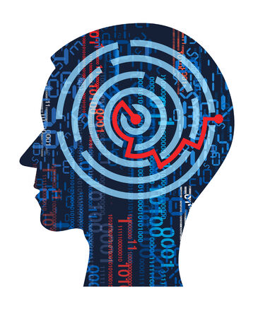 Human Head silhouette with digital numbers, binary codes and maze.. Concept for solution in information technology.  Vector illustration. Vector