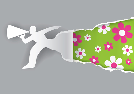 advertises: Paper male silhouette advertises spring time with megaphone. Template  for a original advertisement.. Vector illustration.