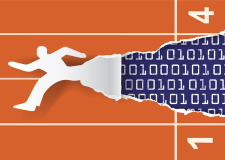 Snel internet promotie flyer sjabloon. Papieren silhouet van de lopende man rippen papier achtergrond met binaire codes.Concept voor een snelle internet verbinding, snelle data flow.Vector illustratie.