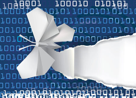 paper screens: Paper versus screens. Origami butterfly rippping paper with binary code. Concept of e-books. Vector illustration. Illustration