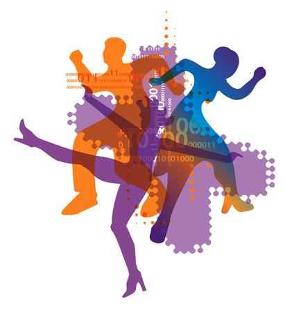 electronic music: Musica elettronica e danza moderna Dancers sagome su fondo bianco. Illustrazione vettoriale. Vettoriali