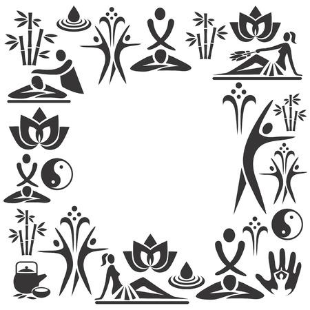 スパ マッサージ装飾的な装飾的なフレームのマッサージとスパの黒いアイコンと。ベクトル イラスト。