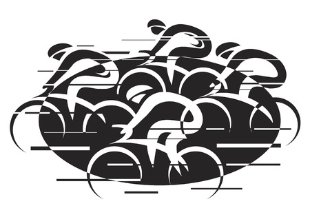 Bicycle road racing. Black vector illustration of cycling race with four bike riders on the white background. Illustration