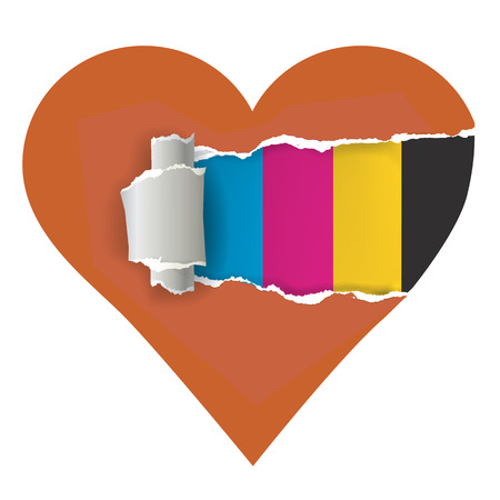 torn heart: I love color printing. Heart with torn paper and with print colors. Concept for presenting of paper or color printing press. Illustration