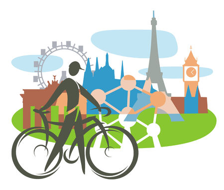 Bicycle touring in Europe. Cyclist with Collage of Famous European buildings, vector illustration. Concept for presenting Europe travel. Vector