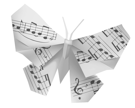 paper fold: Origami butterfly with musical notes. Origami paper butterfly with musical notes on the white background. Theme to use for music notebook and hymnals. Vector illustration.