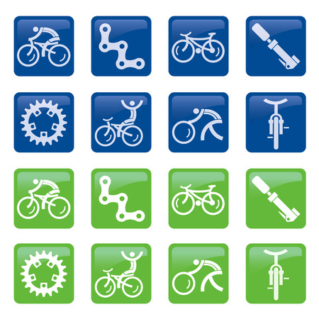 mountain bicycling: Set of blue and green bicycle icons, buttons. Vector illustration.