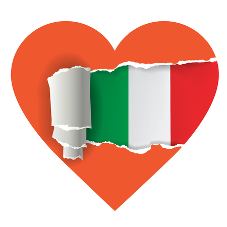 uncovering: I love Italy. Heart with torn paper uncovering Italy flag. Vector illustration.