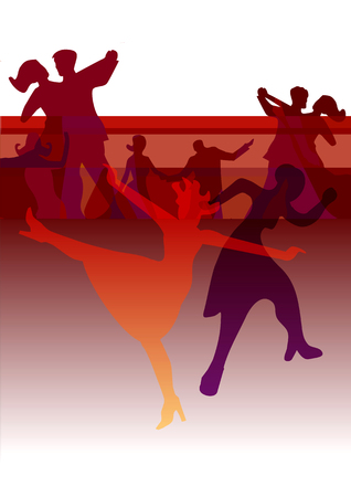 applicable: Dance Party invitation background. Colorful background with dancing silhouettes. Applicable for party invitation. Vector illustration.