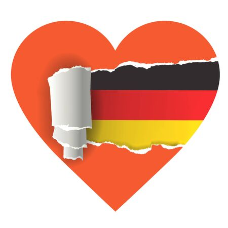 tourismus: I love Germany. Heart with torn paper uncovering German flag. Vector illustration. Illustration
