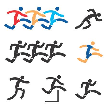 hurdles: Set of black an colorful running icons
