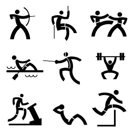 martial art: Black icons with sport and fitness activities Illustration