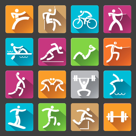 Set of colorful trendy icons with long shadow with sport and fitness activities for web or mobile phone aplication. Vector illustration. Vector