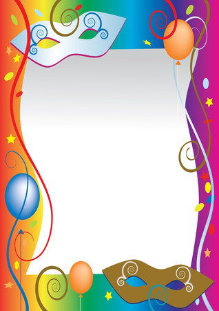 Background for carnival and party invitation cards with colored balloons and confetti. Illustration