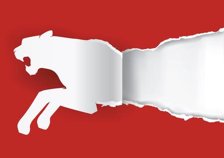 silueta tigre: Silueta de papel de tigre que rasga papel rojo de fondo con lugar para el texto o imagen. Ilustraci�n del vector.
