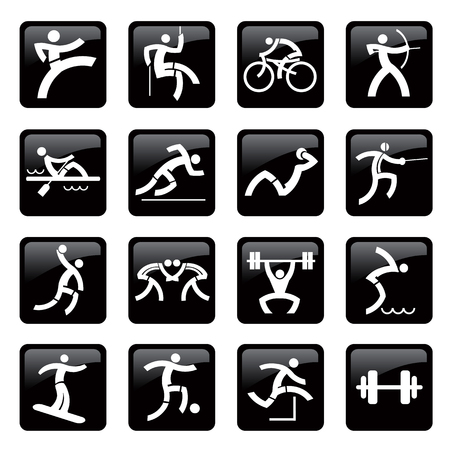 Set of black web icons, buttons with sport and fitness activities. Vector