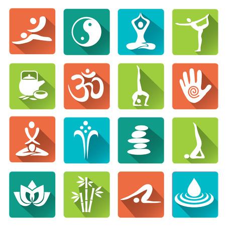 Conjunto de masaje, yoga, spa iconos de moda con larga sombra. Ilustración del vector. Vectores