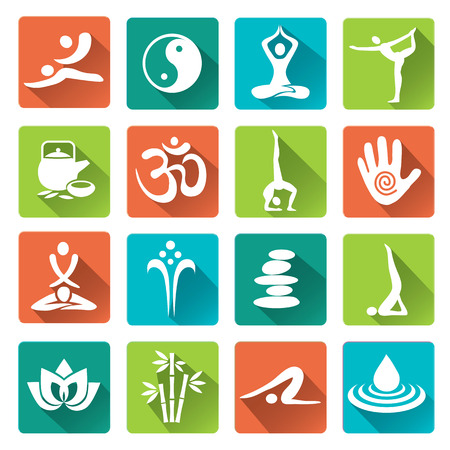 masaje deportivo: Conjunto de masaje, yoga, spa iconos de moda con larga sombra. Ilustraci�n del vector. Vectores
