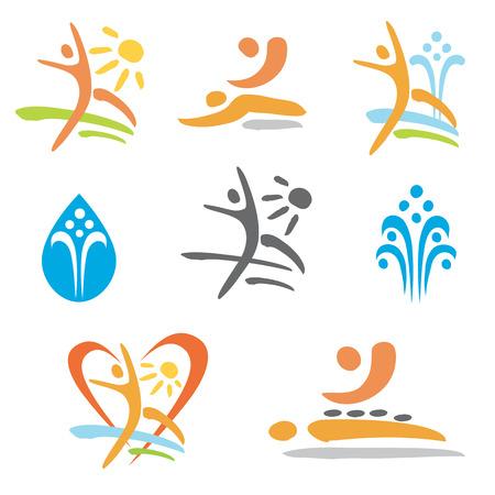 Set van kleurrijke pictogrammen van massage, bubbelbad, nudisme en te ontspannen. Vector illustratie.
