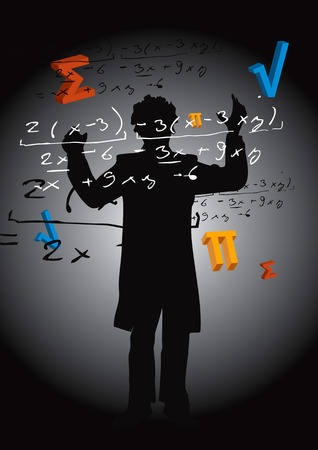 mathematician: Mathematician, male silhouette with mathematics symbols. Colorful illustration.