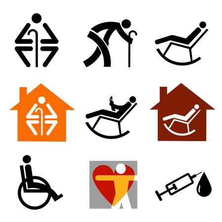 retirement home: Senior black original icons set on white background.Vector illustration. Illustration
