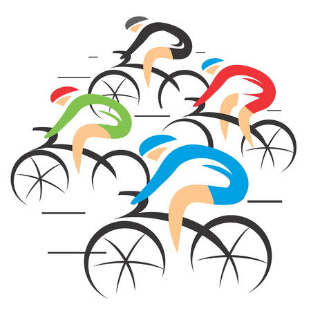 Four stylized Bicycle road racers, colorful illustration.