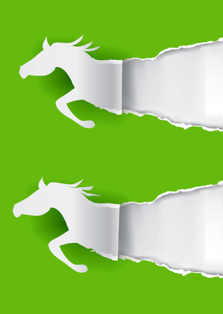 uncovering: Paper silhouettes of  running horses ripping green  paper background with place for your text or image.Illustration.