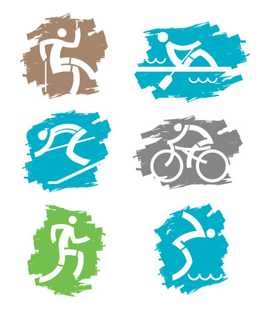 Set of colorful grunge icons with outdoor sport activities. Vector illustration. Vector