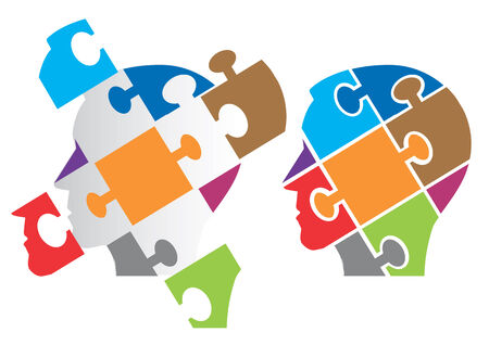 insanity: Two Puzzle heads silhouettes  symbolizing Psychology, psychological problems, Vector illustration.