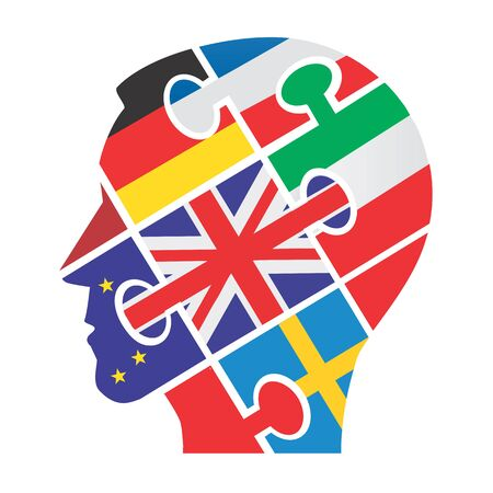 european flags: Male head silhouette with puzzle and european flags. Vector illustration.