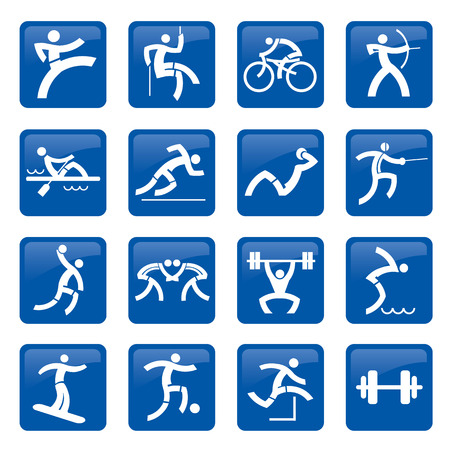 Set of blue web icons, buttons with sport and fitness activities. Vector illustration. Vector