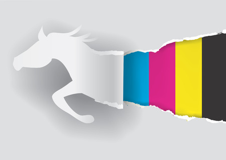 rapacity: Paper horse ripping paper with print colors with place for your text or image. Concept for presenting of color printing. Vector illustration.