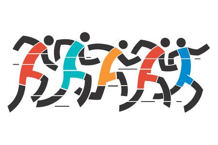 Loopwedstrijd .Een gestileerde afbeelding van runner race.
