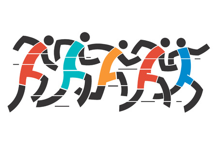 Running race .A stylized illustration of runner race. 向量圖像