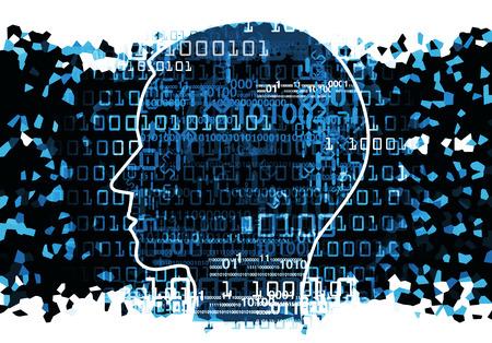 Silueta Cabeza humana con códigos binarios. Concepto de tecnología de la información. Ilustración.