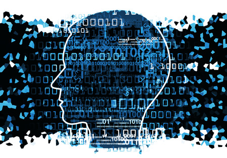 Human Head silhouette with binary codes. Concept for information technology.  Illustration.