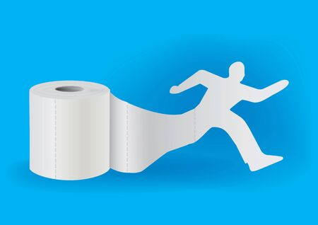 running off: Silhouette of running man taking off from a roll of toilet paper. Concept for presenting of hygiene supplies.Vector illustration.
