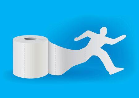 taking off: Silueta del hombre corriente que despegaba de un rollo de papel higi�nico. Concepto para la presentaci�n de ilustraci�n supplies.Vector higiene. Vectores