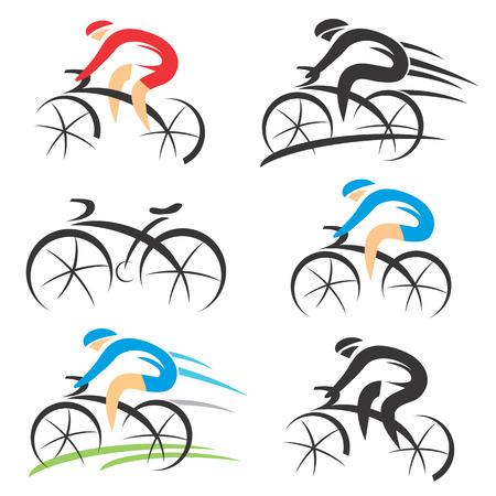 Six modern stylized colorful and black symbols of sport cyclist.