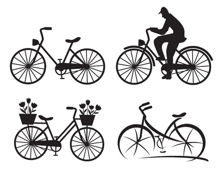 Four city bike black icons. Vector illustration. Vector