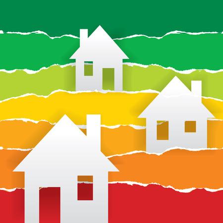 szigetelés: Energia teljesítmény skála, mint absztrakt táj házak. Koncepció a gazdaságos fűtést és hőszigetelés. Illusztráció.