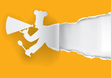 Paper cook caller into a megaphone with bottom layer for your image or text. Vector illustration. Illustration