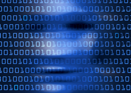 computer program: Human face smeared with binary codes symbolizing cyber crime.