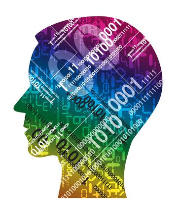 codigo binario: Silueta Cabeza humana con códigos binarios. Concepto de tecnología de la información. Ilustración del vector. Vectores