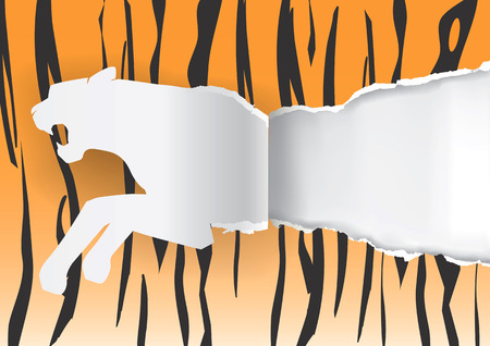rapacity: Paper Tiger ripping paper with tiger print background with place for your text or image. Illustration.