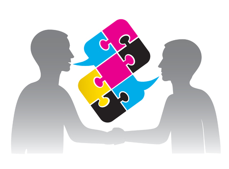 printing business: Business contract in the printing industry. Business people shaking hands and Puzzle bubble talk with print colors.  Illustration.
